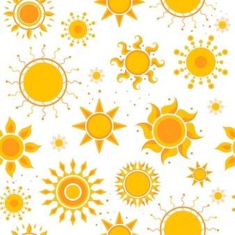 Солнце бесшовные модели картинки. погода лето солнце картинки текстильный дизайн вектор