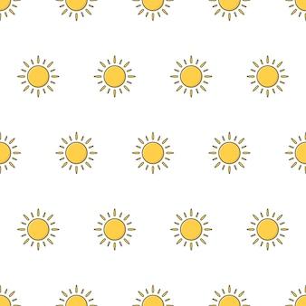 太陽のシームレスなパターン。天気現象のテーマイラスト