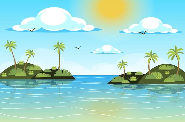 Солнце светит над пейзажем тропических островов в плоском стиле