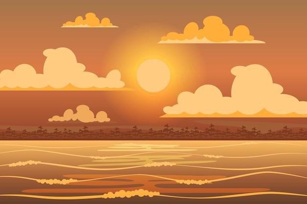 플랫 스타일의 열대 섬 풍경 위에 빛나는 태양