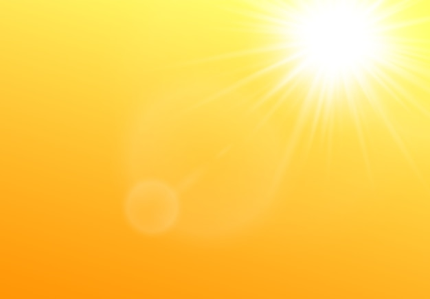 Sun shining in the sky realistic illustration on yellow background