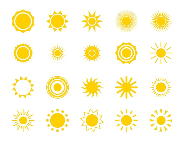 태양 실루엣 아이콘 세트입니다. 여름 원 모양입니다. 자연, 하늘 열 기호입니다. 벡터 일출 이미지 흰색 배경에 고립입니다.
