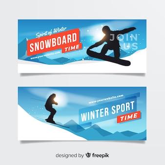 Sun snowboard winter banner