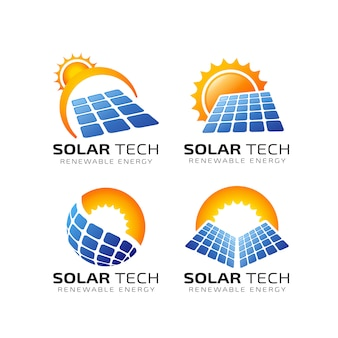 Sun solar energy logo design template