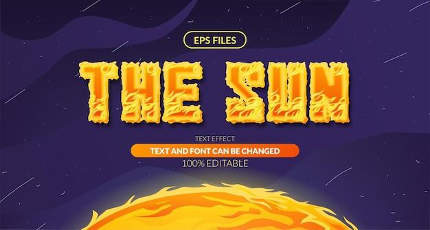 태양 태양 뜨거운 불꽃 공간 편집 가능한 텍스트 효과입니다. 공간 일러스트와 함께 eps 벡터 파일