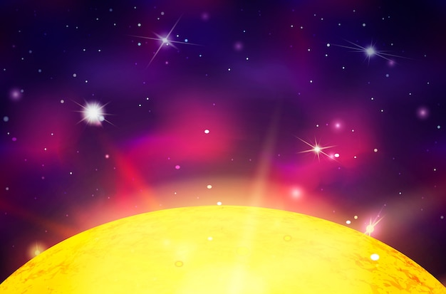 明るい星と星座の深宇宙の背景に光線と太陽の星