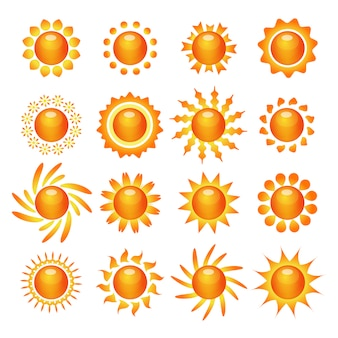 Sun symbol icons set