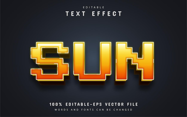 太陽のテキスト、3dピクセルスタイルのテキスト効果