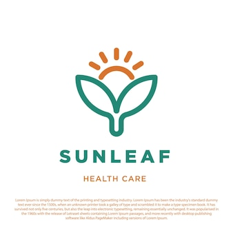 Sun and two leaves symbol icon health care logo for hospital clinic and pharmacy