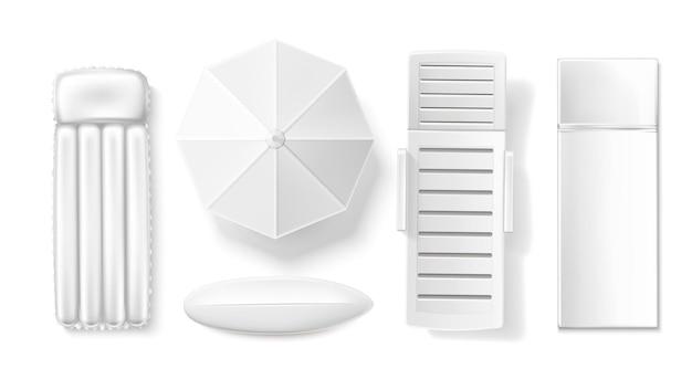 サンパラソルとラウンジャーロングボードサーフデザインコレクションイラスト