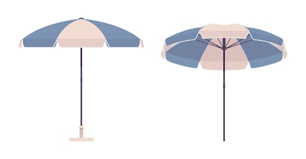Sun umbrella set in blue and white color