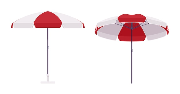Sun umbrella set in red and white color Premium Vector