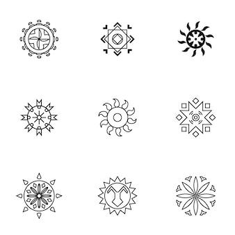 太陽のベクトルを設定します。シンプルな太陽の形のイラスト、編集可能な要素、ロゴデザインで使用することができます