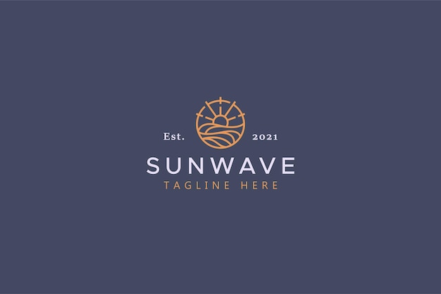 Sun and wave illustration badge logo. creative idea and simple vector template brand identity.