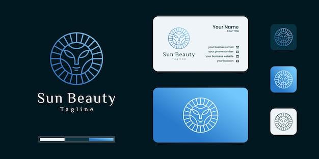 뷰티 우먼 로고가 있는 태양. 일출 독창성 맑은 원 모양 로고 일몰 양식 기호