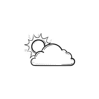 Солнце с облаком рисованной наброски каракули значок. прогноз погоды, солнце и природа, утренняя концепция. векторная иллюстрация эскиз для печати, интернета, мобильных устройств и инфографики на белом фоне.