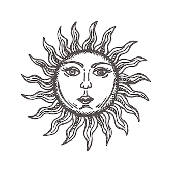 Sun with face stylized as engraving hand drawn vector astrology symbol