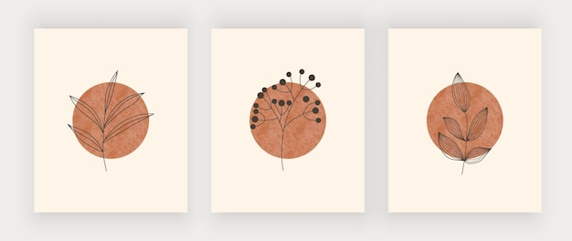 葉の壁アートプリントと太陽。自由奔放に生きるミッドセンチュリーデザインのポスター