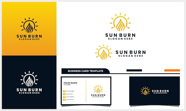 Sun with light fire logo design concept and business card template