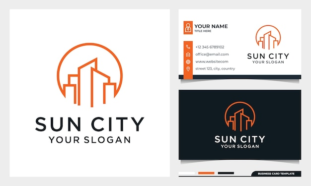 Sun with line art building logo design, moon city, real estate, architecture with business card template