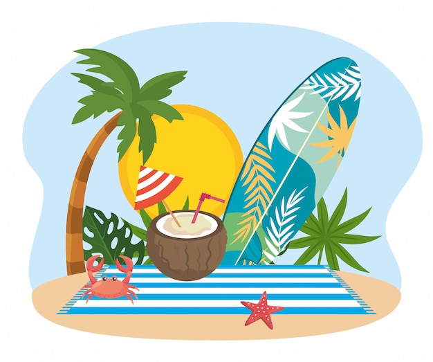 Sun with palm tree and surfboard with leaves plants