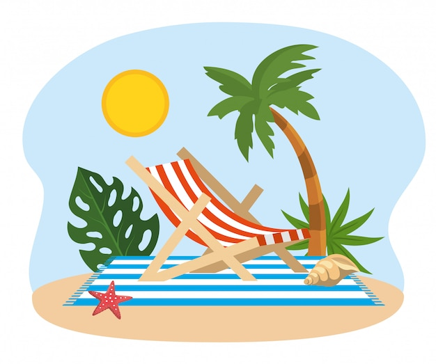 Sun with palm tree and tanning chair with shell and starfish