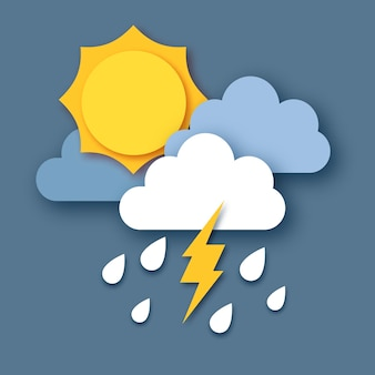 Sun with raincloud and lightening bolt. paper cut weather. storm time. rain drops in the dark sky and thunder.