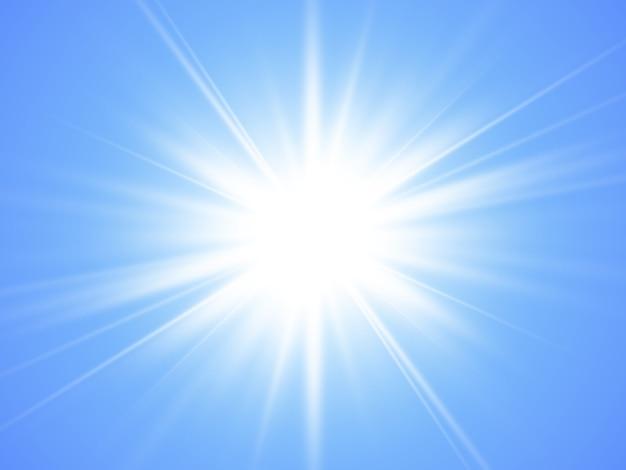 青い背景に光線と太陽。グローライト効果。夏の時間。 。