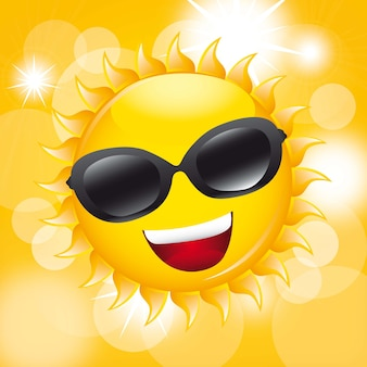 Sun with sunglasses over yellow background vector illustration