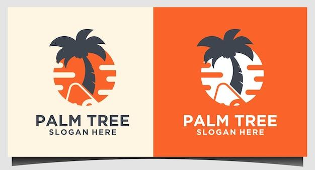 Sun with tree palm logo design vector