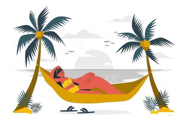 Sunbathe in a hammock concept illustration