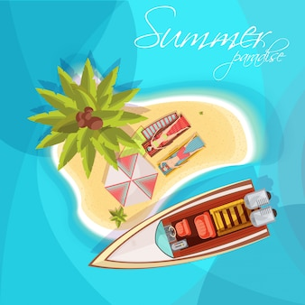 Sunbathers on island composition top view with motorboat umbrella palm tree on blue sea background vector illustration