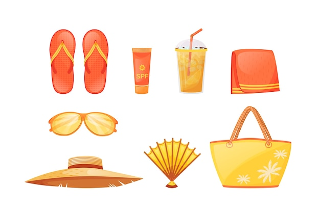 Sunbathing essentials flat color objects set. summer relaxation. travel equipment. beach accessories. seaside resort must haves 2d isolated cartoon