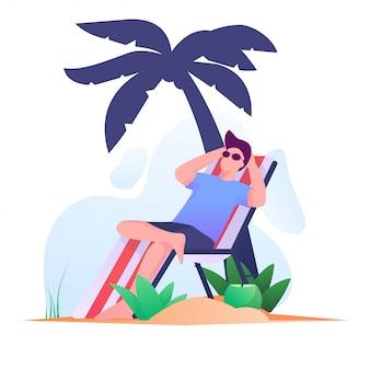 Загорая мужчины на пляже плоской иллюстрации