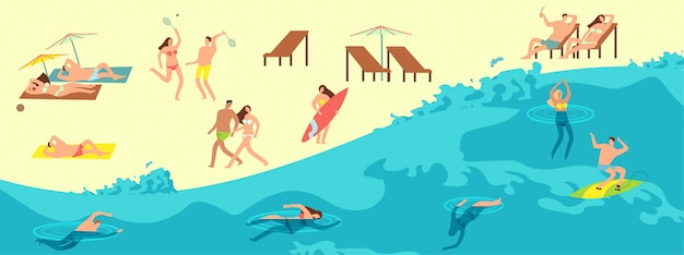 Sunbathing, playing and swimming people in summer beach. summer time  illustration
