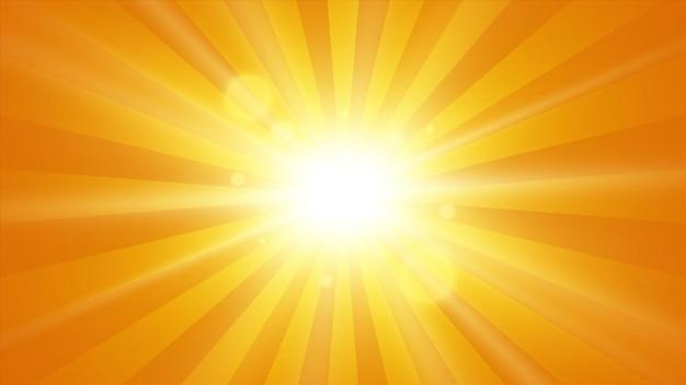 太陽光線の背景。光線のある太陽。抽象的なベクトル爆発。