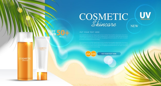 Sunblock ads template sun protection cosmetic products design with moisturizer cream or liquid