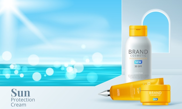 Шаблон солнцезащитного крема, дизайн солнцезащитных косметических средств