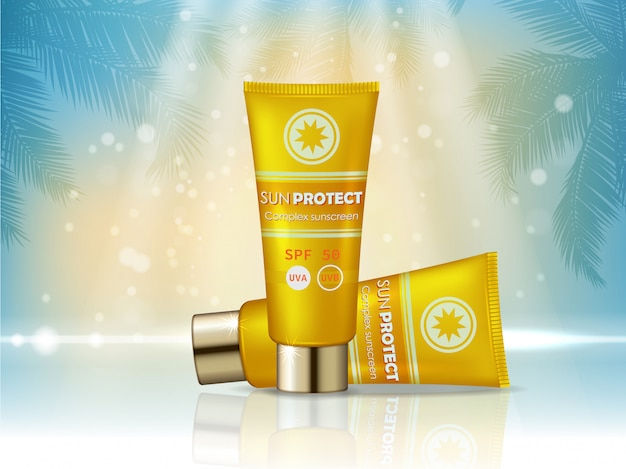 Sunblock cosmetic products ad. sunblock cream bottle, sun protection cosmetic products design.