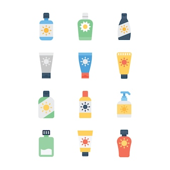 Sunblock lotion icons pack