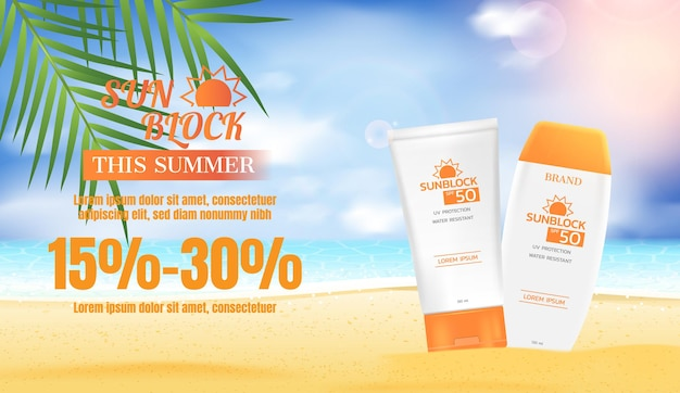 Sunblock lotion with coconut leaves and beach sand