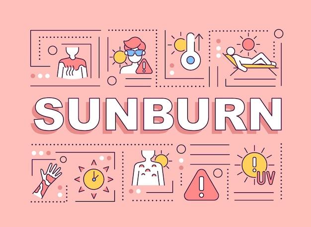 日焼けの単語の概念のバナー。太陽に当たる。炎症反応。