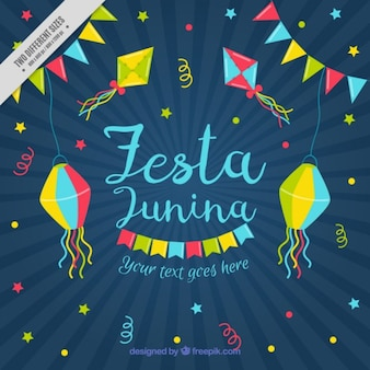 Sunburst background of festa junina with decoration