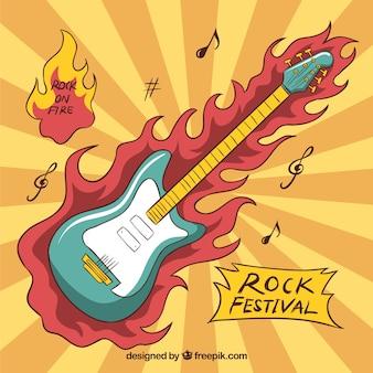 Sunburst background of flaming guitar