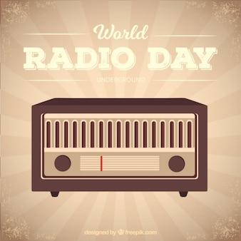 빈티지 스타일의 세계 라디오 데이 햇살 배경