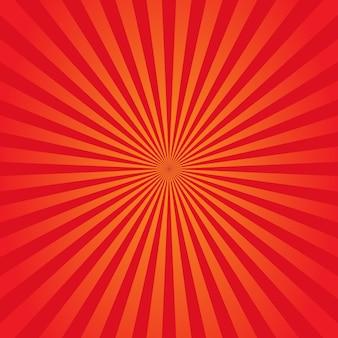 サンバーストの背景オレンジと赤。ベクトルイラスト。 eps 10