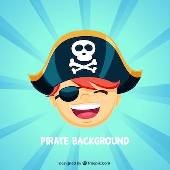 Sunburst background of pirate boy