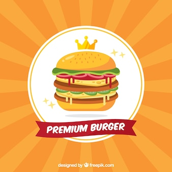 Sunburst background of premium burger