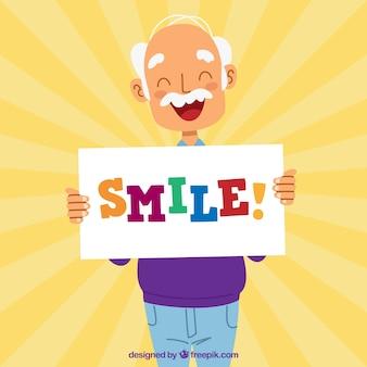 Sunburst background of smiling older person