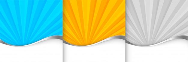 Шаблон фона солнечных лучей в оранжево-синем и сером оттенке